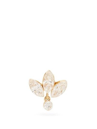 MARIA TASH Lotus diamond & 18kt gold single earring ~ floral earrings ~ diamonds