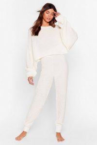 NASTY GAL Lounge Your Here Sweater and Joggers Lounge Set