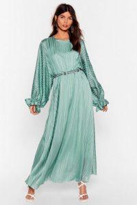 NASTY GAL Love Me Stripe Balloon Sleeve Maxi Dress Mint