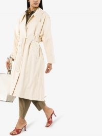 Low Classic Faux Leather Belted Trench Coat