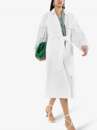Low Classic Pocket Sleeve Belted Trench Coat in White