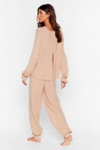 Nasty Gal Luxe Back at It Knit Sweater and Jogger Lounge Set