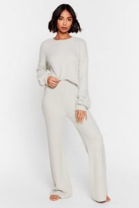 Nasty Gal Luxe Good to Me Fluffy Knit Wide-Leg Lounge Set Mint