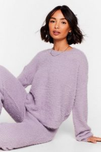 NASTY GAL Luxe Good to Me Fluffy Knit Wide-Leg Lounge Set Lavender