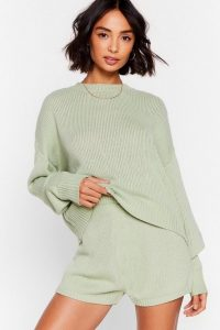 Nasty Gal Luxe Like Fun Sweater and Shorts Lounge Set Sage