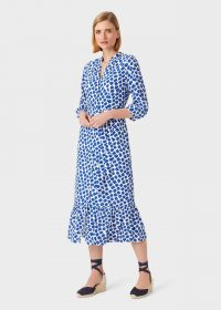 HOBBS MAGDA DRESS COBALT WHITE / blue frill hem dresses