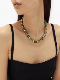 BOTTEGA VENETA Malachite and gold-plated necklace ~ geen stone necklaces