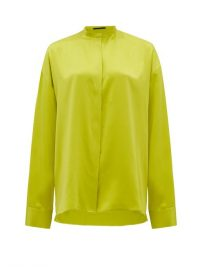 HAIDER ACKERMANN Mandarin-collar silk-satin blouse chartreuse