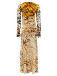 JIL SANDER Marble-print silk-jersey dress ~ ruched mixed print dresses