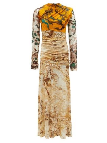 JIL SANDER Marble-print silk-jersey dress ~ ruched mixed print dresses