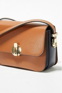 FRENCH CONNECTION MARGOT RECYCLED LEATHER MINI CROSSBODY BAG COGNAC / UTILITY BLUE