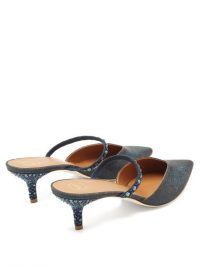 MALONE SOULIERS Marla crystal-embellished Lurex mules in navy