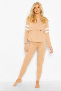BOOHOO Maternity Stripe Detail Nursing Lounge Set Stone
