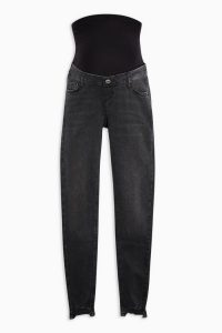 Topshop MATERNITY Washed Black Over Bump Jaggered Hem Jamie Jeans