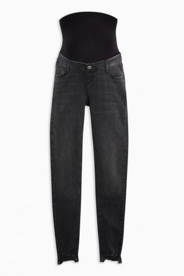 Topshop MATERNITY Washed Black Over Bump Jaggered Hem Jamie Jeans