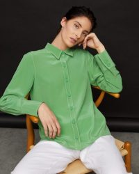 JIGSAW MEAD SILK CREPE SHIRT VIVID GREEN ~ bright shirts