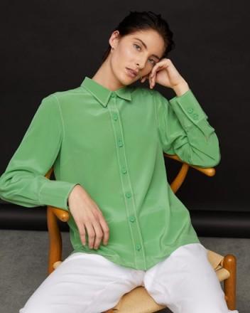 JIGSAW MEAD SILK CREPE SHIRT VIVID GREEN ~ bright shirts