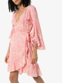 MELISSA ODABASH Kirsty ruffled palm-print wrap dress