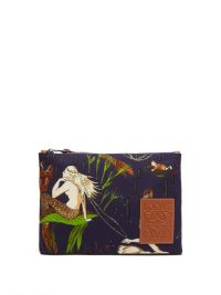 LOEWE PAULA'S IBIZA Mermaid printed canvas pouch | mermaids | sea inspired pouches
