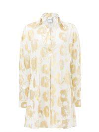 HALPERN Metallic floral-print cotton-voile shirt dress ~ luxe clothing