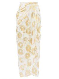 HALPERN Metallic floral-print cotton-voile skirt