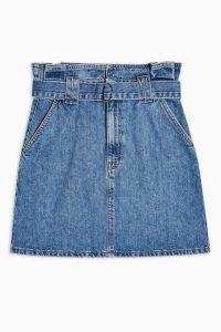 Topshop Mid Stone Skinny Belted Paperbag Skirt