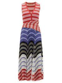 ALTUZARRA Milkweed striped stretch-knit plissé dress