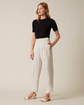 JIGSAW MINI CAVALRY TAB TROUSER CHALK ~ neutral summer pants ~ casual style clothing