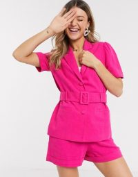 Miss Selfridge suit co ord in bright pink – shorts and jacket sets