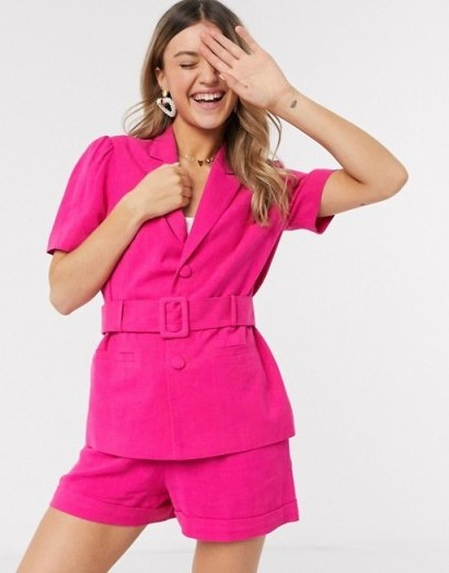Miss Selfridge suit co ord in bright pink – shorts and jacket sets - flipped