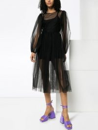 MOLLY GODDARD black tulle midi dress – sheer dresses