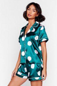 NASTY GAL My Spotlight Short Satin Pajama Set Emerald – sleepwear sets