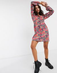 NA-KD floral print square neck puff sleeve mini dress in orange