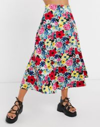 NA-KD poppy floral midi skirt in multi | full and floaty A-line skirts