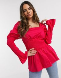 NA-KD smocked puff sleeve blouse in fuchsia pink