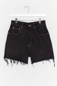 Nasty Gal Vintage Oh Boy High-Waisted Denim Shorts in Black | frayed hems