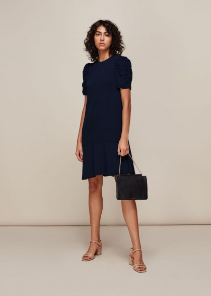 WHISTLES GEORGINA ZIP DRESS NAVY / ruched sleeve dresses
