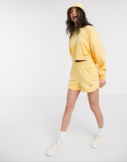 Nike crop retro terry towelling coord in yellow / topaz gold