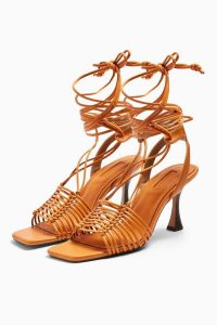 TOPSHOP NORTH Macramé Ankle Tie Shoes in Orange / strappy sandals