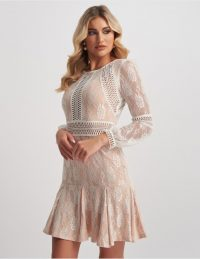 FOREVER UNIQUE Nude & Ivory Embroidered Overlay Lace Mini Dress With Frill Skirt