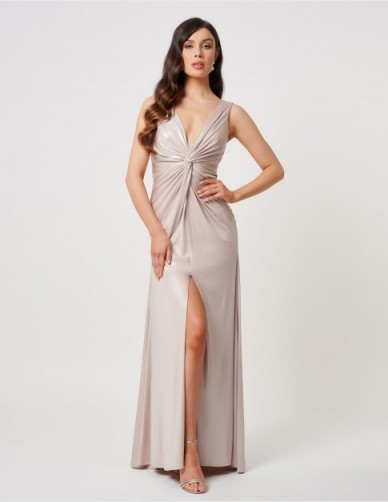 FOREVER UNIQUE Nude Plunging Front Knot Maxi Dress ~ evening glamour