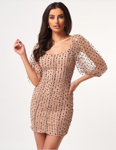 FOREVER UNIQUE Nude Polka Dot Ruched Mini Dress ~ semi sheer dresses
