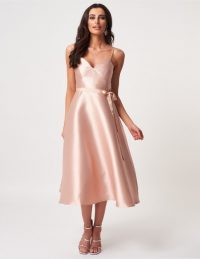 FOREVER UNIQUE Nude Satin A-Line Midi Dress ~ classic fit and flare party dresses