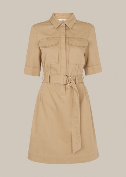 WHISTLES GEMMA SHIRT DRESS OATMEAL / utilitarian clothing