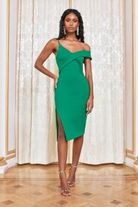 Lavish Alice off shoulder midi dress in emerald green