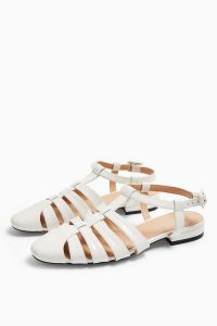 TOPSHOP OLIVE White Fisherman Shoes / cut-out flats
