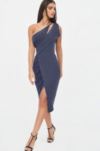 Lavish Alice one shoulder cut out midi wrap dress in navy blue