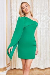 Lavish Alice one shoulder half cape mini dress in emerald green