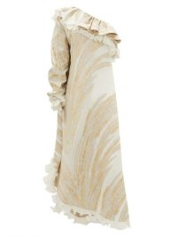 DUNDAS One-shoulder feather-jacquard crepe dress ~ ruffle trim dresses