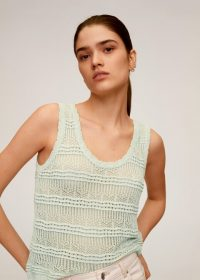 MANGO CARACOLA Openwork knit top Aque Green | knitted tank